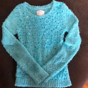 Justice Blue/Aqua Fuzzy Sequence Sweater